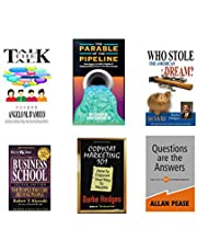 Combo of six books: Business school, Questions are the answers, Copycat Marketing 101, Who Stole The American Dream? ,The Parable of the Pipeline, Talk the Talk