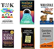 Combo of six books: Business school, Questions are the answers, Copycat Marketing 101, Who Stole The American