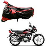Adroitz Bike Body Cover for Hero HF Deluxe (Black and Red)