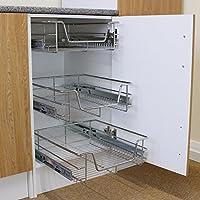 Kukoo - 3 Cestos Extraíbles para Mueble de Cocina de 60cm de Ancho con Guías Telescópicas de Cojinetes de Bolas 42,5cm x 49,7cm x 14cm