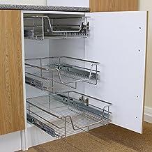Kukoo - 3 Cestos Extraíbles para Mueble de Cocina de 50cm de Ancho con Guías Telescópicas de Cojinetes de Bolas 42,5cm x 46,4cm x 14cm