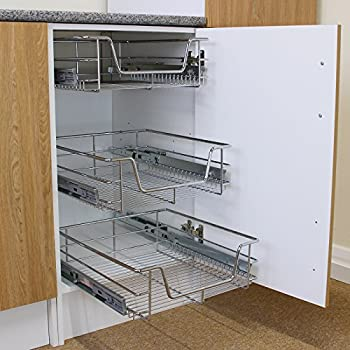 kukoo 3 x kitchen pull out soft close baskets 500mm wide