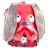 Lagiwa - Porte monnaie entièrement en cuir fait à la main avec rabat en forme de tête de chien Basset Rouge + dragonne en cuir et Porte clé
