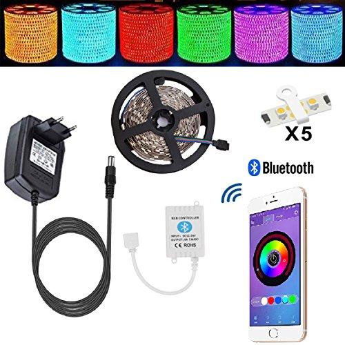 Led Stripes 5m TENLION LED Strip Licht Streifen Bluetooth Smartphone kontrolliert Apparaturen des Led Streifen Lichterkette RGB 5 Meter 150 Licht 5050 nicht wasserdichter Lampenband +12V 3A Elektrizitätsquelle geeignet für Android und IOS