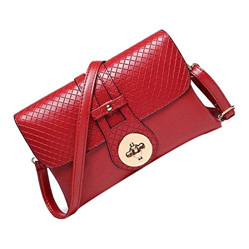 Messaggero Borse - TOOGOO(R)Materiale PU coccodrillo del messaggero delle donne sacchetti delle signore di Crossbody Borse per le donne casuale borsa frizione (Rosso - trama intrecciata) Rosso - trama intrecciata