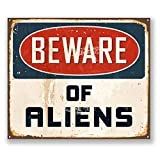 2 x 10cm Beware of Aliens Vinyl Sticker iPad Laptop Car X-Files Alien Gift #5728