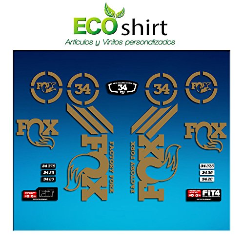 PEGATINAS STICKER FORK FOX 34 AM64 AUFKLEBER DECALS AUTOCOLLANTS ADESIVI FORCELA GABEL FOURCHE (ORO/GOLD) (Fox 34)