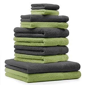 10 tlg. Badetuch Duschtuch Handtücher Set Premium Farbe Apfel Grün & Anthrazit Grau 100% Baumwolle 2 Duschtücher 4 Handtücher 2 Gästetücher 2 Waschhandschuhe