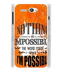 Nothis is Impossible Quote Soft Silicon Rubberized Back Case Cover for Lava Flair P1