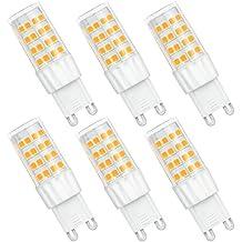 SHINE HAI bombillas LED G9 6W equivalentes a Lámparas halógenas de 45W,Blanco cálido 3000k,450LM,AC 220-240V,51x SMD 2835