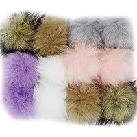 WPQES DIY 12pcs Faux Fox Fur Fluffy Pompom Ball para tejer sombreros, bolsos, llaveros, zapatos, colores populares de la mezcla
