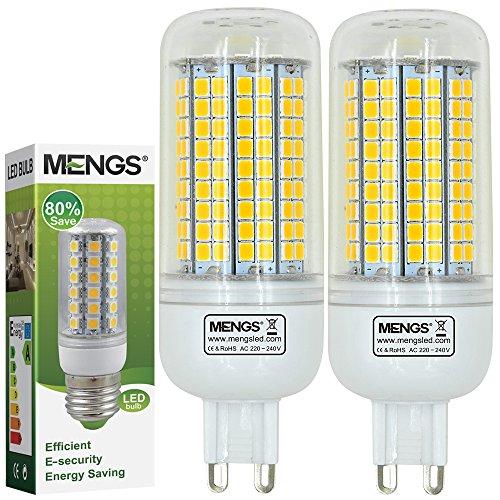 MENGS Pack de 2 Bombilla lámpara LED 15 Watt G9, 180x2835 SMD Con placa de...