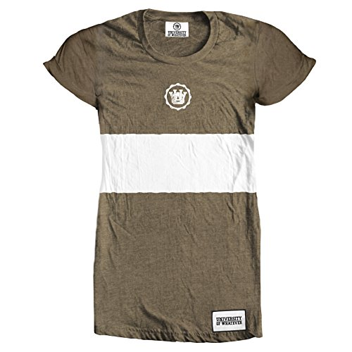 University of Whatever Damen Tshirt Lange Linie Kleid Olivgrün DE 32-34 CV001 (Baseball Kontrast Tee)