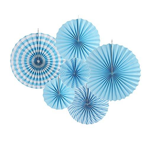pier Fächer Dekoration für Party Feier Taufe Geburtstag Kombination 21cm 31cm 42cm (Blau) ()