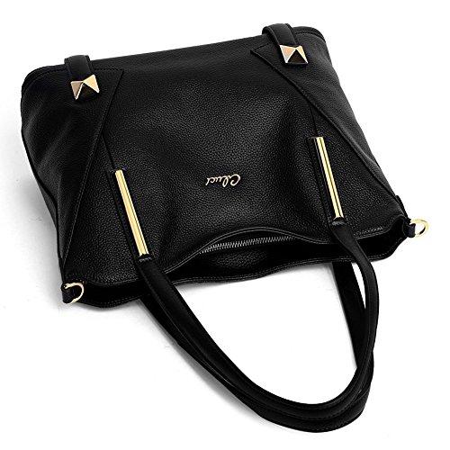 CLUCI Vera Pelle Borsa Donna Sacchetta Tote a Mano Spalla Top-Handle Leather Bag Designer 10-Nero