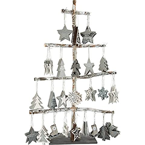 Pendagli per Avvento di Natale decorativi legno, Display 144 pezzi Legler 10247