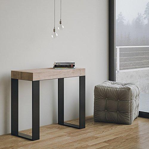 Group design tavolo consolle allungabile made in italy tecno rovere natura con telaio antracite 14 posti 3 metri