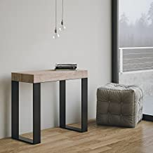 Mesa consola extensible Made in Italy Tecno roble Natura Con Marco Antracita 14 plazas 3 metros