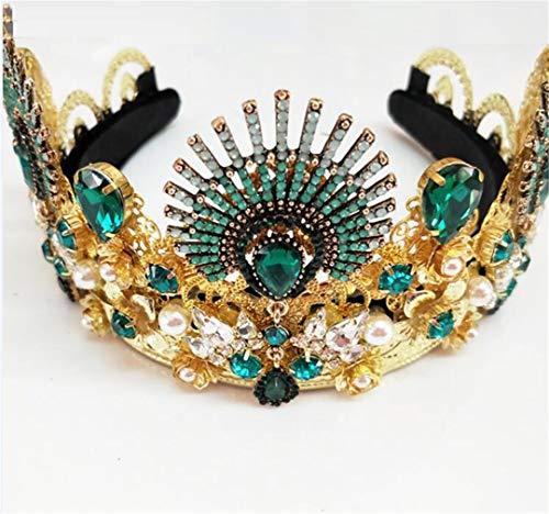 BLINBLINHADRESS 1 Set European Drop Green Red Crystal Tiaras Vintage Gold Strass Pageant Kronen Barock Queen Hochzeit Haar Zubehör 6