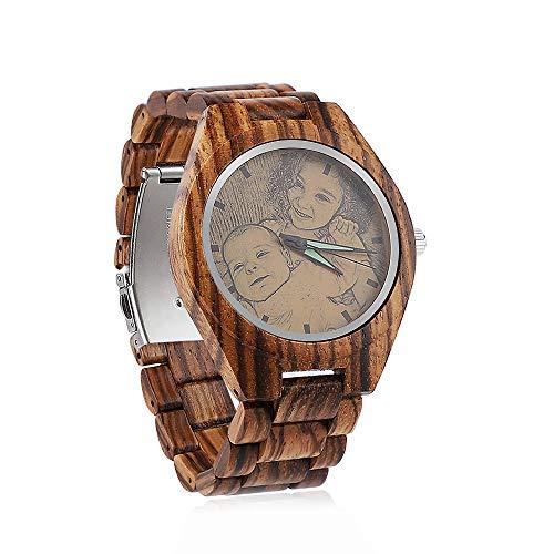 Herrenuhr aus Holz mit Foto oder Nachricht beidseitiger Gravur für Personalisierte Quarz leichte handgefertigte hölzerne Armbanduhr -