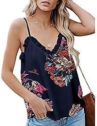 Chaleco de Mujer Camiseta Sin Mangas Cuello en v Encaje Estampado de Flores Vestido Fiesta Top Casual Suelto y cómodo Slim-fit Sling Primavera Verano Marlene1988