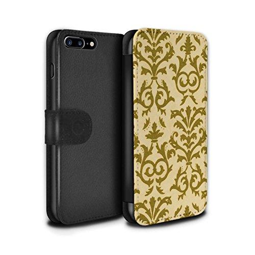 Stuff4 Coque/Etui/Housse Cuir PU Case/Cover pour Apple iPhone 7 Plus / Rose Design / Motif de défilement Collection Jaune