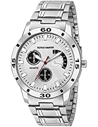 OCTIVO MARTIN OM-CH 1023 White Dial Chronograph Pattern Stainless Steel Strap Analog Watch - For Men & Boys