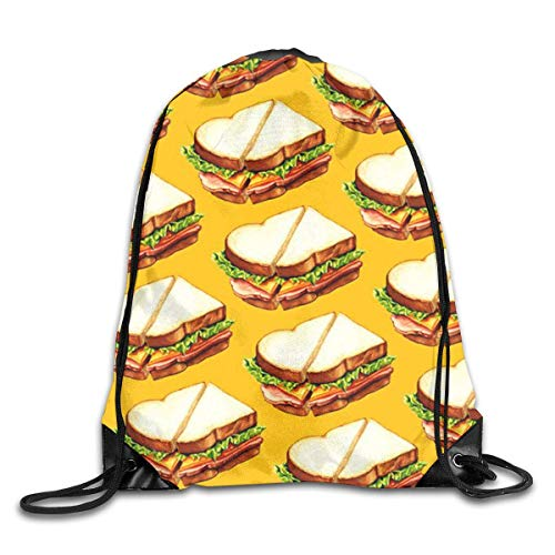 Naiyin Delicious Sandwich Pattern Drawstring Backpack Bag Rucksack Shoulder Sackpack Sport Gym Yoga Runner Beach Hiking Dance