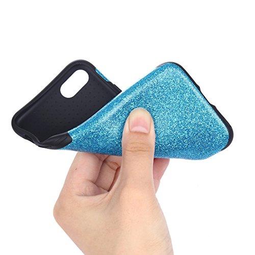 BING Für iPhone 7 Plus Soft TPU Schutzmaßnahmen Glitzer Puder PU Paste Haut Fall BING ( Color : Black ) Blue