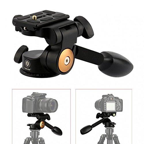 TARION® Q08 Drei-Wege-Neiger Stativ-Kopf mit Kipphebel Panorama + Schnellwechselplatte für DSLR Kamera Dreibeinstativ Einbeinstativ