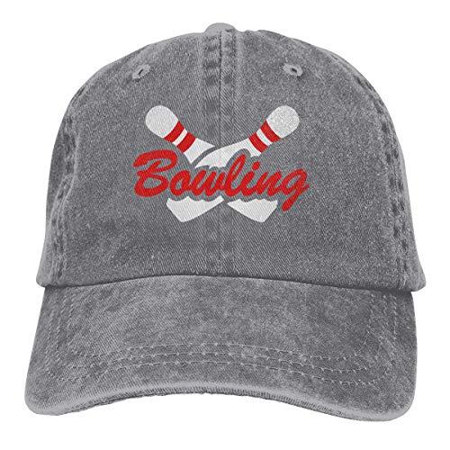 Presock Bowling Sports Cowboy Cap Unisex Adjustable Dad Baseball Hat Gray -