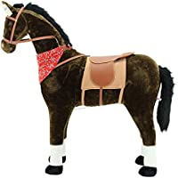 """Sweety Toys 5048 Plüsch Pferd XXL Riesen Stehpferd Reitpferd """"Chocolate"""" Größe ca.105 cm Kopfhöhe bis 80 kg belastbar, Farbe chocolate mit dunkler Mähne und dunklem Schweif mit Sattel und Pferdedecke Zaumzeug Sweety-Toys"""