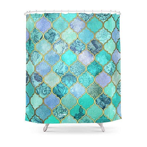 1 Cool Jade U0026 Icy Mint Dekorative Marokkanische Fliesen Muster Duschvorhang  182,9 Cm Von 182,9 Cm