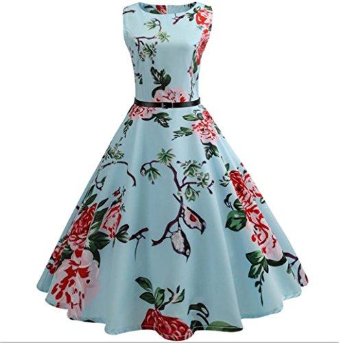 Lenfesh Vintage 1950's Audrey Hepburn pin-up robe de soirée cocktail - Imprimé à pois sans manches - style halter années 50 à pois - Femme (L, Floral --- Bleu)