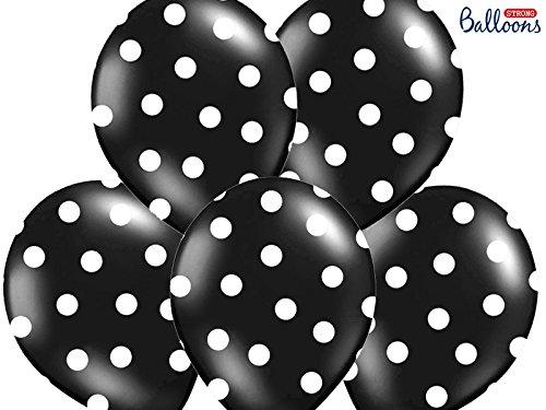 SiDeSo® 10 Luftballons mit Punkten Heliumgeeignet Party Geburtstag Jahrestag (schwarz mit weißen Punkten) (Schwarz Und Weiß Geburtstag Party)