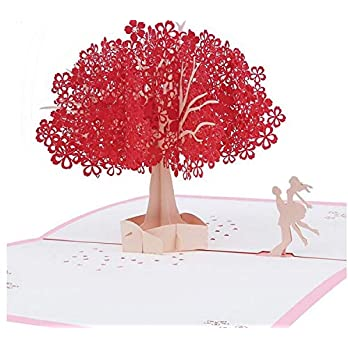 BC Worldwide Ltd handgemachte 3D-Pop-up Valentines-Karte rote Kirschblüte Kirschblüten-Baum Paar Liebhaber, Hochzeitstag…