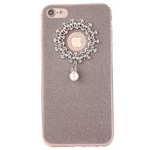 Clear Crystal Rubber Protettivo Case Skin per Apple iPhone 7 4.7, CLTPY Moda Brillantini Glitter Sparkle Lustro Progettare Protezione Ultra Sottile Leggero Cover per iPhone 7 + 1x Stilo - Silver Gris 1
