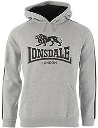 Lonsdale Hommes 2 Rayé Oth Sweat À Capuche Sweater Top Poche Kangaroo Imprimé