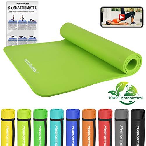 Gymnastikmatte Premium inkl. Übungsposter + Tragegurt + Workout App GRATIS | Hautfreundliche - Phthalatfreie Fitnessmatte - Lindengrün - 190 x 100 x 1,5 cm - sehr weich - extra dick | Yogamatte