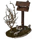 Alfred Kolbe Krippen AM 16 - Accesorios para belén (casa de pájaros de troncos, con árbol y 3...