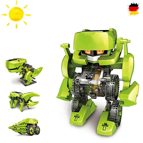 4in 1dinosauro konstruktions Bauset con pannello solare, Robot, DROIDE, Set elettrica di solare Kit educativo strutturale Bauset con Solar Scienza exprementieren, unità con la luce del sole