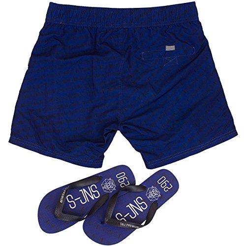 Smith & Jones Baryon Boardshort Swimshorts & Flip Flops Bundle Set Blue