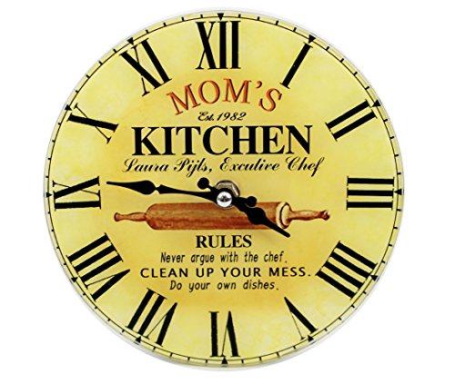Wanduhr aus Glas - MOM's KITCHEN - d=17cm - Vintage Shabby Uhr (Uhr Mom)