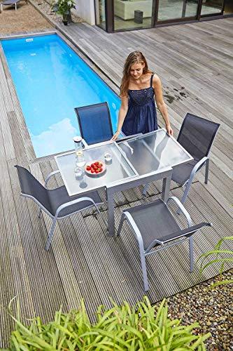 Ausziehtisch Gartentisch Terrassentisch | 70×70 cm | Grau | Aluminium | Glas | Ausziehbar