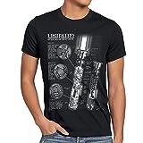style3 Laserschwert Blaupause Herren T-Shirt Jedi Lichtschwert, Größe:XXXL, Farbe:Schwarz