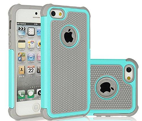 iPhone 7 Hülle, Stoßfest Handy Schutzhülle Stoßgedämpfter Extraharte Tasche Silikon Gel Hybrid Armor Cover Case Etui für Apple iPhone 7 - Schwarz Blau