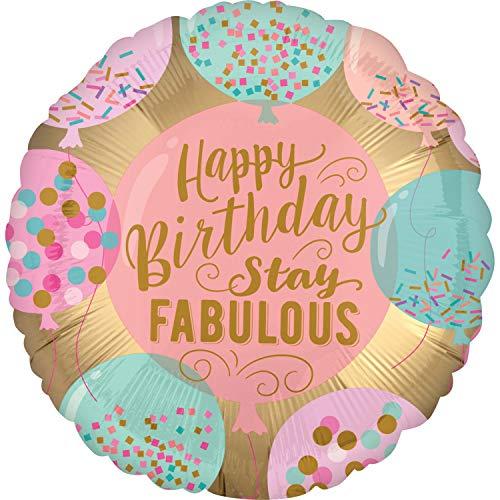 Balloonarama - XL Folienballon - Happy Birthday Stay Fabulous Motiv im Streusel Donut Format - 45cm - perfekte Geschenkideen zum Geburtstag Valentinstag Hochzeit, Party Dekoration, Rosa