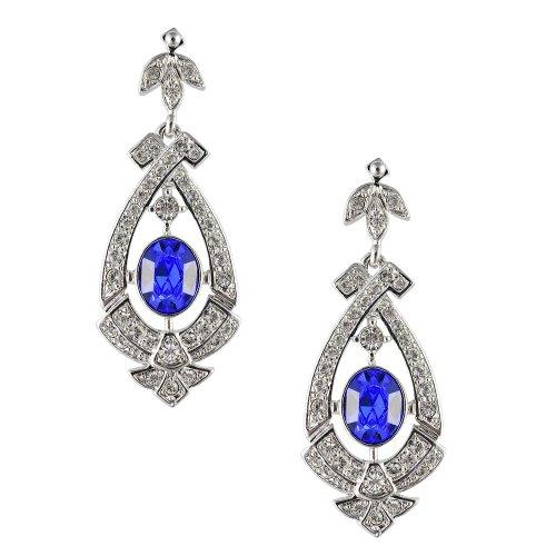 Kostüm Ballroom Strictly - Cristalina Damen-Halskette Metall rhodiniert Art Deco Ohrringe mit Swarovski Saphir Kristall 5,2 cm lang, blau