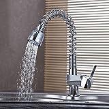 Auralum® Ausziehbare Küche Chrom Armatur Spültisch Küchenarmatur Spültischarmatur Einhandmischer Wasserhahn