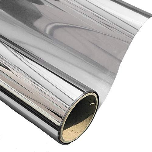 AoJia Vinilo Ventana Privacidad Protector Reflejo Solar de Una Manera Espejo Cristal de Ventanal Película Adhesiva Anti 99% UV Control de Calor Oficina Salón Plata 45 * 200cm